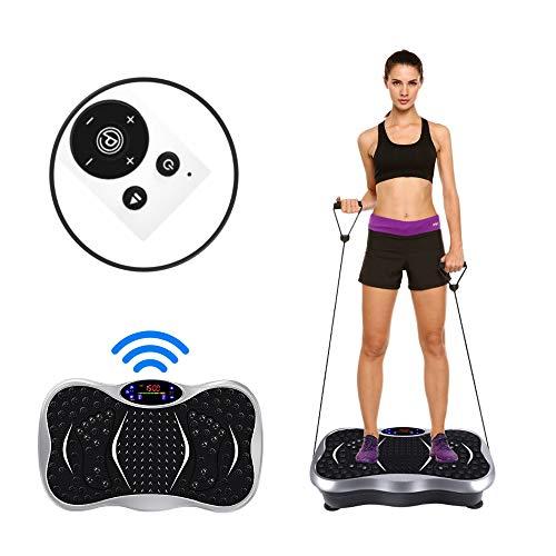 POKAR - Plataforma vibratoria para fitness de cuerpo entero, antideslizante, superficie grande, con bandas de entrenamiento