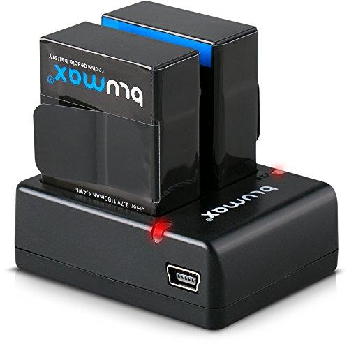 Blumax 2X Akku kompatibel mit GoPro Hero 3+ AHDBT-301 1180mAh + Mini Dual-Ladegerät kompatibel mit GoPro Hero 3+ Dual Charger für 2 Akkus gleichzeitig Laden (Gopro Hero 3 Akkus)