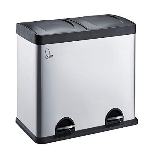 SVITA Edelstahl Mülleimer Treteimer Abfalleimer Mülltrennung mit Schubfächern (48 Liter (2 x 24L))