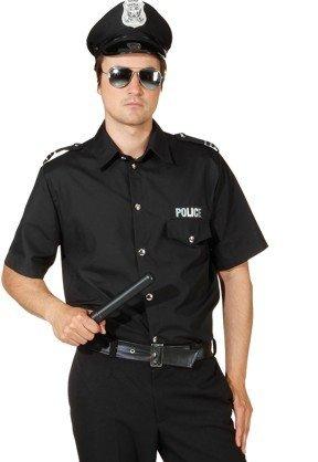 Polizei Hemd in schwarz zum Herren Kostüm Polizist Karneval Gr.54/56