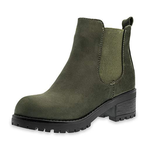 Marimo Damen Stiefeletten Chelsea Ankle Boots Wildlederoptik Blockabsatz Profilsohle Plateau Grün 37