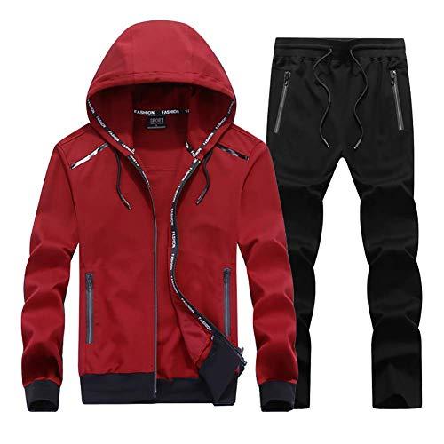 LISUEYNE Herren Jogginganzug Trainingsanzug Fitness, Rot-schwarz, L