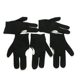 Dcolor 5 pz guanti neri con 3 dita per biliardo snooker