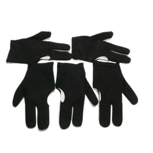 SODIAL(R) 5 schwarze drei Finger Handschuhe fuer Billardspielen Snooker