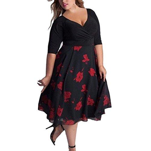 Keepwin Women's Low Cut Wrap Patchwork Floral Plus Size Midi Dress for  Party Evening (L, Black)