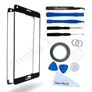 Front Glas für Samsung Galaxy Note 4 N910 Schwarz Display Touchscreen mit 12 tlg. Werkzeug-Set / passgenauem PreCut Sticker / Pinzette / Rolle 2mm Klebeband / Saugnapf / Metall Draht / Mikrofasertuch / Anleitung MMOBIEL