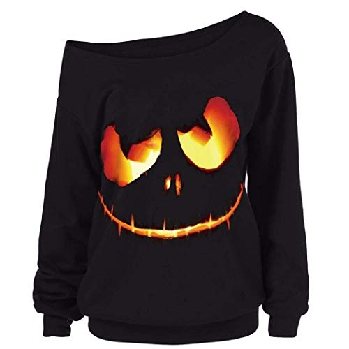 Sweatshirt Damen Vintage Casual Pullover Langarm Jungen One Shoulder Halloween Kostüm Young Fashion Große Größen Tops Oberteile Sport Shirt Women
