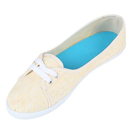 Klassische Damen Ballerinas | Sportliche Stoffschuhe | Slipper Flats | Sneakers Slip-ons | viele Farben Nude Spitze