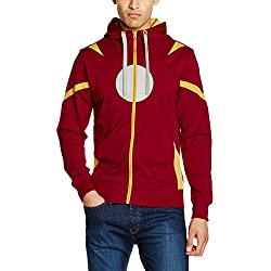 Marvel Civil War-Captain America Vs Iron Man, Sudadera con Capucha para Hombre, Rojo (Red Red), Medium