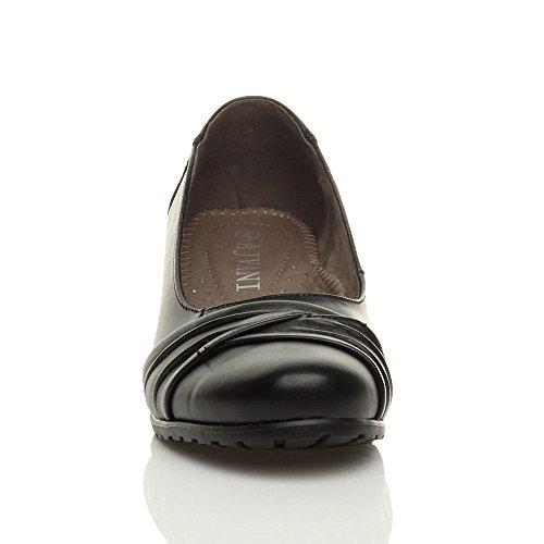 Esqueleto Vendas Tamanho Sapatos Couro Senhoras Confortável Bombas Pretos Da Operacional Quadra Meio De Zq1p84n