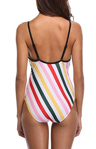 CharmLeaks Damen Streifen Einteiler Badeanzug Gestreift Schalen Slim Schwimmanzug Figurformende Bademode Grün