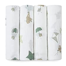 aden + anais Classic Muslin Swaddle Blanket 4 Pack, Up, Up And Away by aden + anais