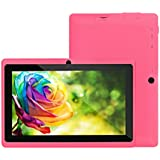 "7"" Google Android 4.4 16:9 Width Screen 800X480 Quad Core Tablet PC 1GB+8GB Dual Camera WiFi Bluetooth US Plug (Pink)"