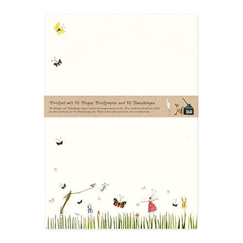Briefpapier Set edel mit Umschlägen, 10 Seiten DIN A4 mit Blumen und Tieren, Natur, Nostalgie, Retro, cremefarben, Schmetterlinge
