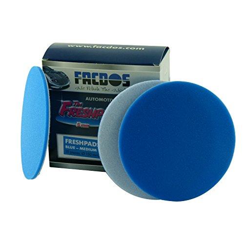 FACDOS Fresh-Pad Blau Mittelweich 150 mm x 5 mm 10 St. | für Hochglanz & Entfernung starker Hologramme | Mittel-weiche Polier-Scheiben | Professionelle Lackaufarbeitung für alle gängigen Lackarten
