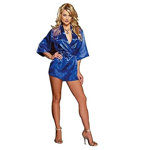 Eleery Damen Sexy Durchsichtig Nachtwäsche Unterwäsche G-Schnur Nachtkleid Spitze Satin Negligee (Blau)