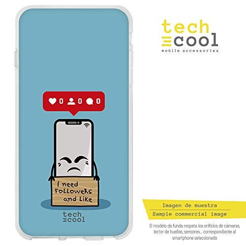 (Funnytech Huawei P9 Hülle SchutzHülle Soft TPU Silikon Transparent für Huawei P9 l Case, Cover, Handy, High Definition Druck [Movil mendigo Like y Followers Azul])