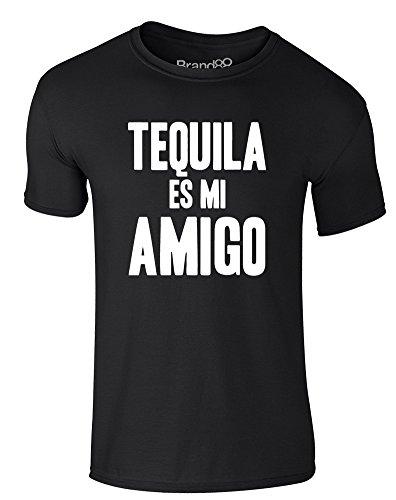 Brand88 - Tequila es mi Amigo, Erwachsene Gedrucktes T-Shirt Schwarz/Weiß