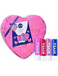 NIVEA Soft Lips Gift Set for Her, Lip Balm Set Includes Original Care, Soft Rose, Strawberry Shine, & Pearly Shine Lip Balms, NIVEA Lip Balms in a Heart-Shaped Tin