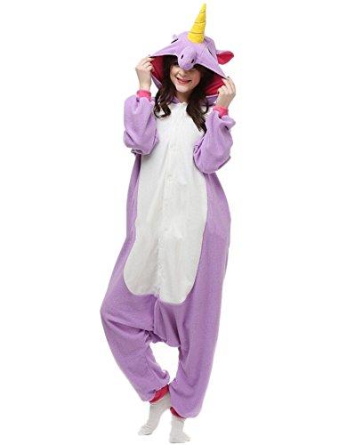 Fandecie-Ropa-de-Dormir-Pijamas-Unisexo-Adulto-Traje-Disfraz-Animal-Cosplay-Costume-Pyjamas-Halloween-Unicornio-Prpura-Adecuado-para-alta-160-175cm