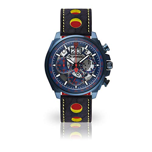 DETOMASO LIVELLO Mens Wristwatch Chronograph Analog Quartz Blue Yellow Racing Leather Strap Blue red dial DT2060-D-820