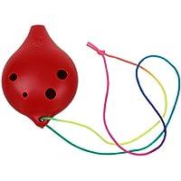 SODIAL(R) Ocarina Ceramico 6 Agujeros Alto C Instrumento de Viento Musical Regalo Leyenda del tiempo Flauta Rojo