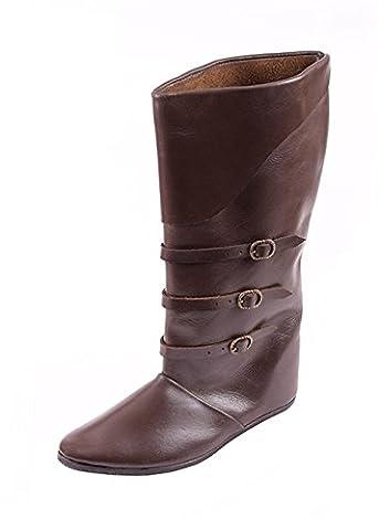 Schnallenstiefel, lacets de style médiéval en cuir marron foncé bottes lARP - Marron, 43 EU
