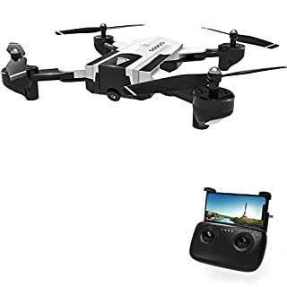 Rabing RC Drone, SG900 Optical Flowing Foldable FPV WiFi RC Quadcopter with Double Hd 720P Camera 4CH 6-Axis Gyro Image Allow Gesture Photo/Video Selfie Drone, White