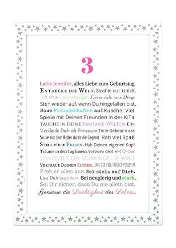 Geschenk Kindergeburtstag Mädchen: Personalisiertes Bild in DIN A4 zum 3, 4, 5. oder 6. Geburtstag - Geschenkidee für Kinder - Geburtstagsgeschenk oder Beigabe zum Geldgeschenk