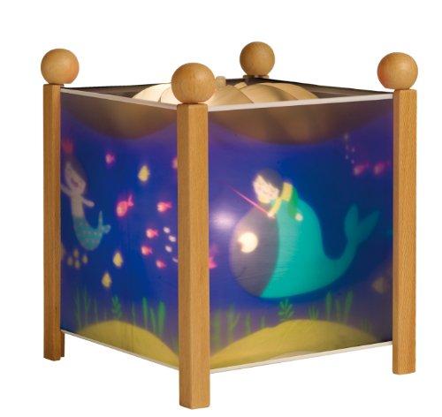 TROUSSELIER - Ninon Sirène - Veilleuse - Lanterne Magique - Idéal Cadeau de Naissance - Dessin animé - Point de Lumière rassurant - Couleur Bois Naturel - Ampoule 12V 10W inclue - Prise Européenne