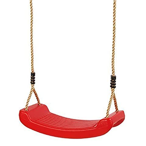 Childrens Kids Red Rectangular Plastic Rope Swing Seat Hanging Outdoor Garden Mounting Bench by ROPE SWING