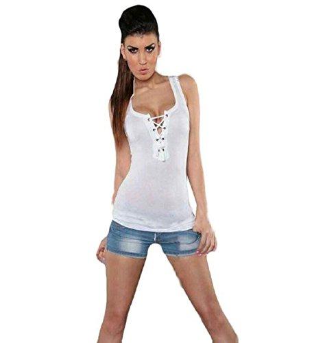 Damen Shirt ,ZEZKT Damen Sexy T-Shirt Tops Bluse Oberteil Mit Spitze Sport Tank Top (S, Weiß) (Bra High Cami Neck)