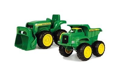 """Tomy Sandkasten Spielzeugset """"John Deere Mini Bagger und Kipplader"""" in grün - robuster Spielzeug Bagger und Kipplaster aus Kunststoff für draußen - ab 18 Monate von John Deere"""