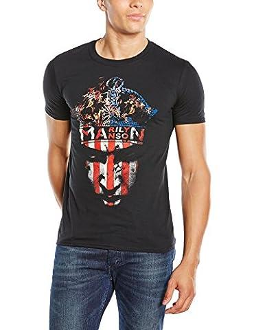 Marilyn Manson Herren T-Shirt, Crown, GR. XX-Large (Herstellergröße: XX-Large), Schwarz (Black)