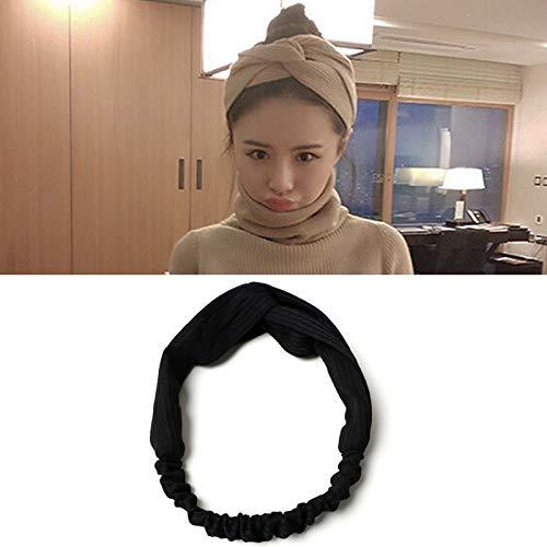 KANEED Hauptbänder Hoops 5 STÜCKE Frauen Temperament Knitting Cross Shape Haarband (Farbe : Black)