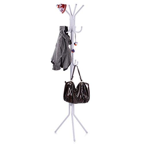 Metal Coat Rack Free Standing Display Stand Hall Baum mit 3 Tiers und 11 Haken für Kleidung Schals und Hüte 45173-2 (Weiß) (Wand-montage 6 Haken Coat Rack)
