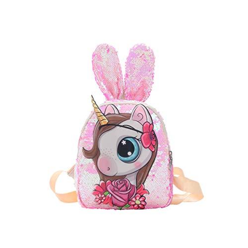 TENDYCOCO Mochila Unicornio Lentejuelas Conejo Oreja diseño Mochila Escolar Mochila Mochila para niños niñas-Rosa