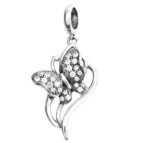 Queenberry in argento Sterling 925, pendente a forma di farfalla, con zirconia cubica trasparente e pendente con Perline per braccialetti Pandora, Biagi, Troll, Chamilia-Charm Bracelets