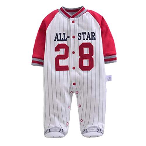 Mxssi Enfant Overall Neugeborenen Strampler Langarm Baby Kleidung Körper Anzug Baumwolle Infant Boy Sport Baseball Kostüm (Mädchen Baseball Kostüm)