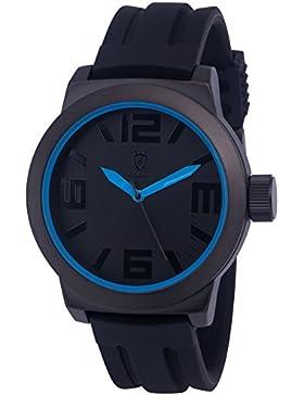 Königswerk AQ202897G Herren Uhr, blaue Zeiger und Innenring, Armband aus schwarzem Silikon, Zifferblatt und Gehäuse...