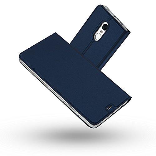 Redmi Note 4 Hülle,Radoo® Premium PU Leder Handyhülle [Ultra Slim][Kabelloses Aufladen Unterstützung] Brieftasche-stil Magnetisch Folio Flip Klapphülle [Transparenter TPU Stoßfänger] Etui Brieftasche Hülle [Karte Halterung] Schutzhülle Tasche Case Cover für Xiaomi Redmi Note 4 (Blau) (Position Funktionelle)