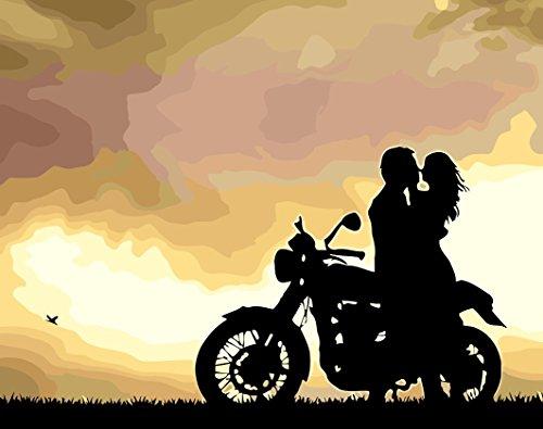 rahmt 40,6x 50,8cm Malen nach Zahlen DIY Malerei, malen nach Zahlen Kit Figur t080905zj 40x50cm rw0005-figure Kiss In Sunset Motorcycle Couple Silhouette ()