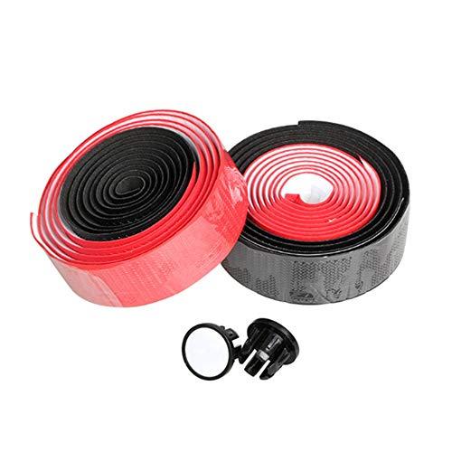 EODUDO-S Zweifarbiges Lenkerband - PU-Rennrad-Lenkerband Fahrradgriffwicklungen 1 Paar, Weitere Stile (Farbe : SCHWARZ+ROT)