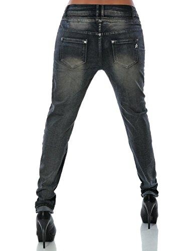 Damen Boyfriend Jeans Hose Reißverschluss Knopfleiste (weitere Farben) No 14145 Anthrazit