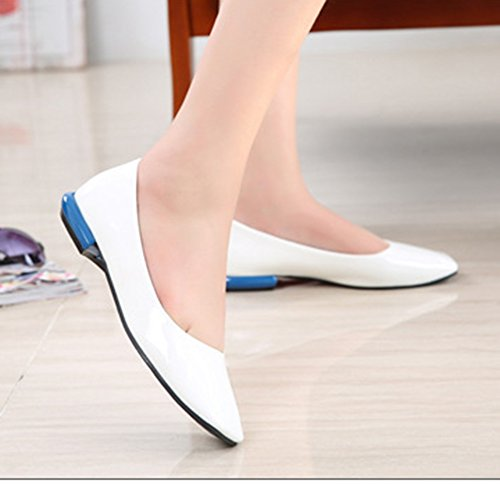 Aisun Damen Modisch Quadratisch Zehe Patent Slipper Loafer Weiß