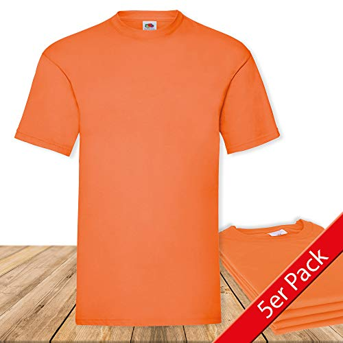 Fruit of the Loom Original  T Rundhals T-Shirt F140 5er Pack- Gr. M, Orange