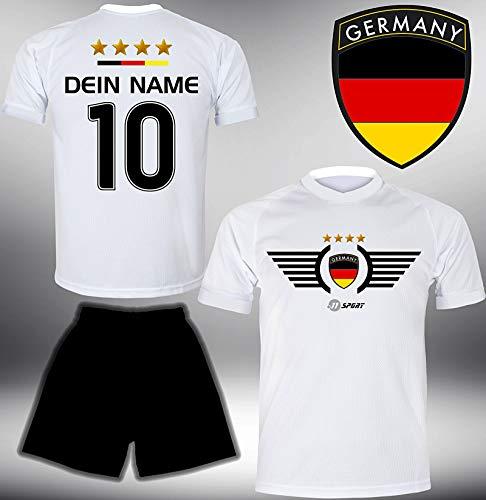 ElevenSports Deutschland Trikot Set 2018 mit Hose GRATIS Wunschname + Nummer im EM WM Weiss Typ #DE2th - Geschenke für Kinder Erw. Jungen Baby Fußball T-Shirt Bedrucken -