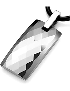 MunkiMix Wolframcarbid Wolfram Anhänger Halskette Silber Ton Kariert Plaid Rechteckig Einstellbar Verstellbaren...