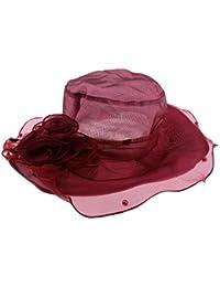 MagiDeal Sombrero de Sol Ala Ancha de Organza Gorro Floral Plegable  Transpirable Accesorio para Mujer Novia 7fc78ec5810