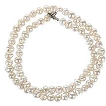 d101001576e6 TOOGOO(R)collar de gargantilla en la perla blanca de agua dulce 5mm
